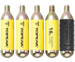 Kolsyrepatron Topeak gängad 16 gram 5-pack + 1 silikonskydd