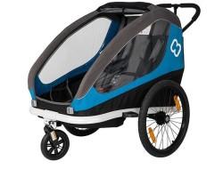 Hamax Cykelvagn Traveller 2 barn blå/grå