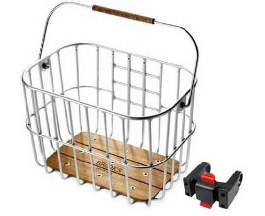 Cykelkorg fram Brooks Klickfix Fäste på Styret aluminium/Trä/läder